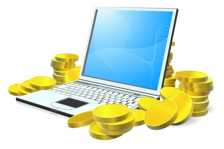 earn: Ordenador port�til con pilas de monedas de oro a su alrededor