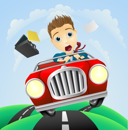 red sports car: A young businessman looking very scared driving fast in classic sports car