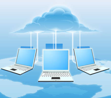 A conceptual cloud computing illustration. Laptops connected to the cloud with a world map in the background. Illustration