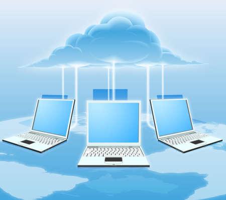 conectividade: Uma ilustração de computação em nuvem conceitual. Laptops conectados à nuvem, com um mapa do mundo no fundo. Ilustração