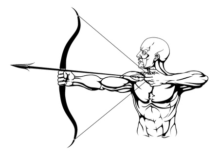 bowman: Illustration of monochrome strong archer with bow and arrow