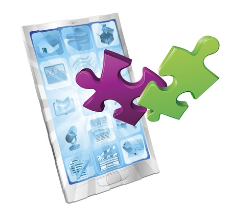 Jigsaw puzzle pieces flying out of a stylish mobile phone. Phone application concept. Vector
