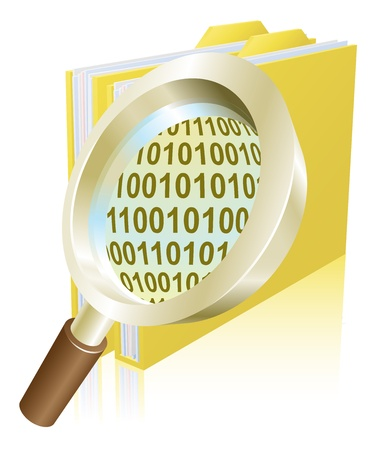 binary file: Conceptual illustration of magnifying glass searching binary data file folder