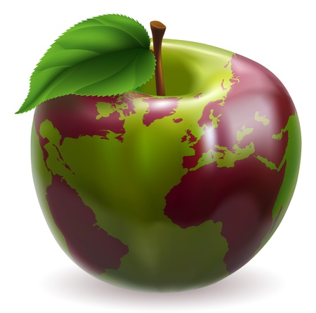 Conceptual illustration of an apple with color on skin forming the world globe Vector