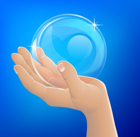 An illustration of a hand holding a bubble or crystal ball Vector