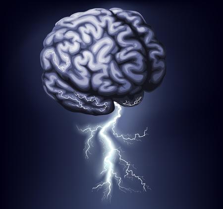 ötletroham: Illusztráció egy agyi villám jön ki belőle. Koncepció agy vihar