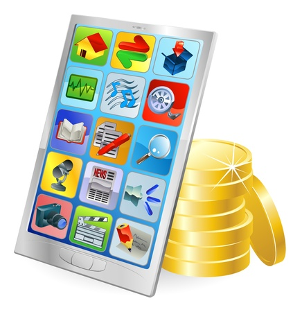 Mobile phone or tablet PC gold coin money concept Vector