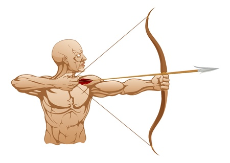 bowman: Illustration of strong archer holding bow and arrow ready to release