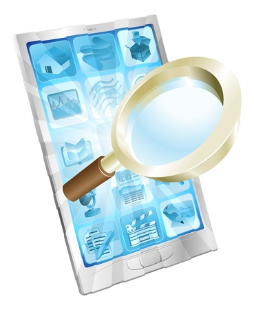 Magnifying glass search icon coming out of phone screen concept Stock Vector - 11964330