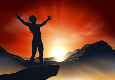 raised hand: Illustration of a man on a mountain or cliff top with arms out at sunrise or sunset with light sunburst Illustration