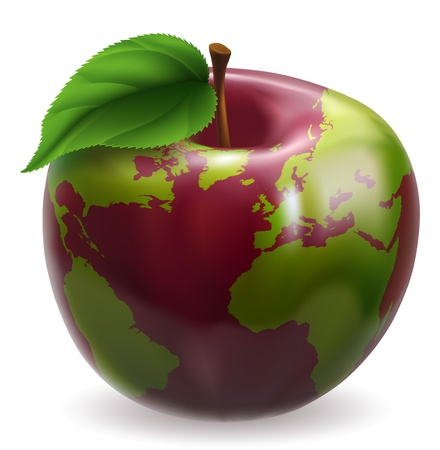 asia globe: Red and green apple with world globe pattern on skin