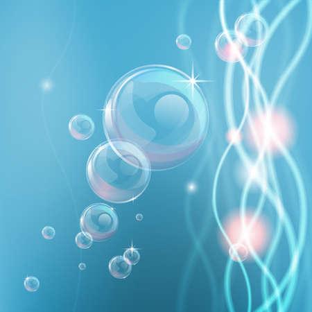 reflectie water: Blauwe achtergrond met abstracte vormen en lichten en bellen Stock Illustratie