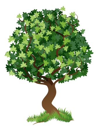 An illustration of a stylised tree with grass around its roots Vector