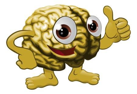 cerebros: Ilustraci�n de un personaje de dibujos animados del cerebro dando un pulgar hacia arriba firmar