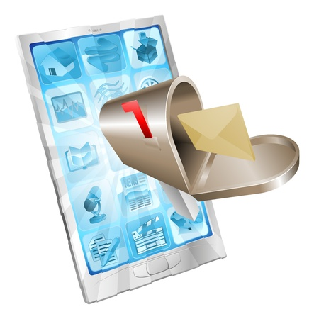 Letter and mailbox flying out of phone screen concept illustration. Vector