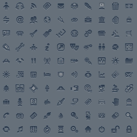 A set of 100 embossed style web icons for all your internet, interface or app needs Vector