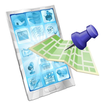 unfolded: A road or city map flying out of a mobile phone. Concept or icon for map app or internet website with maps or other GPS related.