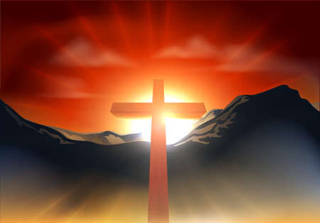 Christian cross with sun rising behind it over a mountain range. Could be used as resurrection Easter concept Vector