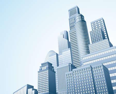 사무실 건물: 사무실 블록의 도시 마천루의 스카이 라인의 그림