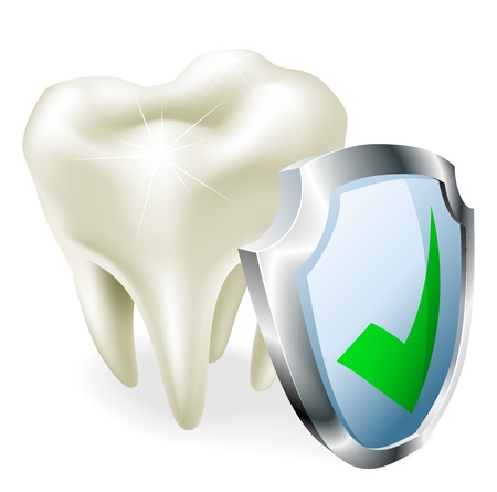 teeth whitening: A tooth with a shield and green tick icon.  Illustration