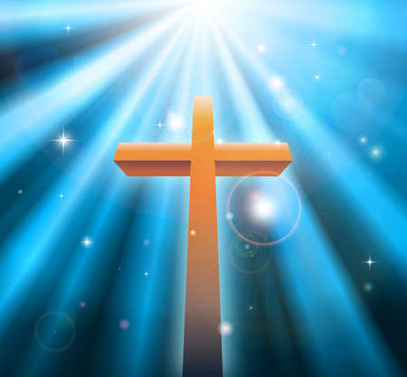 Christian religion cross crucifix bathed in light rays Vector