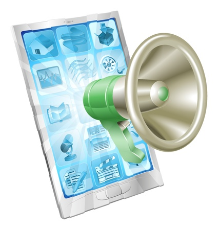 bull horn: Megaphone icon coming out of phone screen concept Illustration