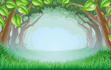 fairytale background: A beautiful woodland scene with trees and grass and space in the centre