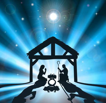 historias de la biblia: Escena de la natividad cristiana de la Navidad del niño Jesús en el pesebre con la virgen María y José
