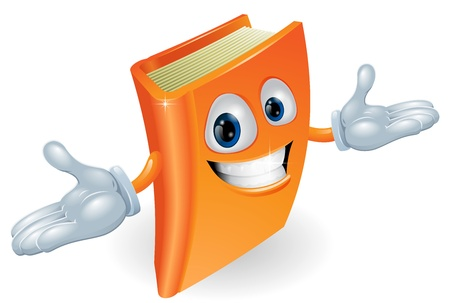 face book: A smiling book cartoon illustration. Education, reading or teaching mascot