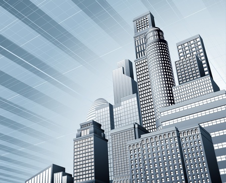 사무실 건물: 추상 파란색 기업 도시 마천루 사업 배경
