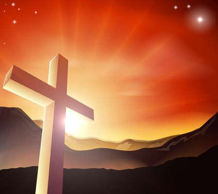 cruz religiosa: Sol naciente detrás de la cruz sobre una cadena montañosa. Resurrección de la Pascua cristiana el concepto Vectores