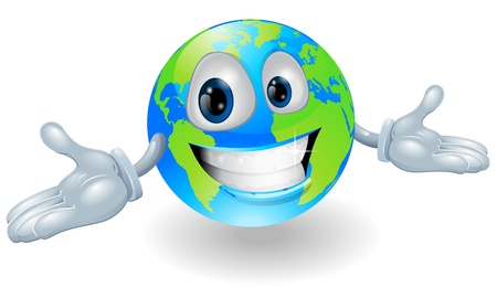 held: Illustration of a smiling happy globe character with hands held out Illustration