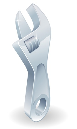 An illustration of a cartoon adjustable wrench or spanner Vector