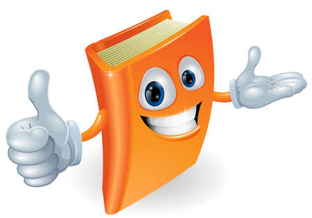 thumbs up icon: Book cartoon character mascot giving a thumbs up
