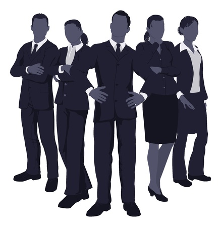 job recruitment: Illustration of a young dynamic smart business team