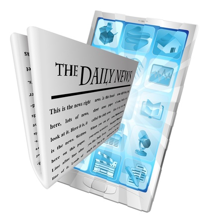 Newspaper coming out of phone screen concept Stock Vector - 12347041