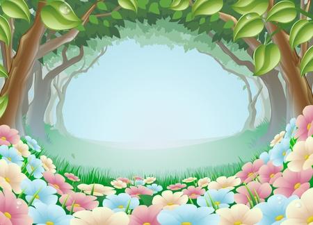 ochtend dauw: Een mooie fantasie bos bos scene illustratie Stock Illustratie