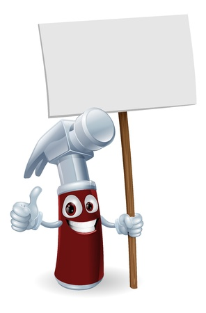 claw hammer: Illustration of a cartoon hammer man holding up a sign