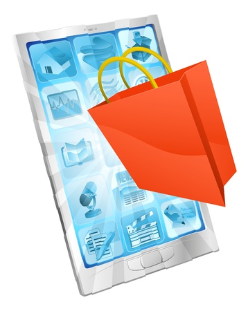 Shopping bag icon coming out of phone screen online shopping concept  Vector