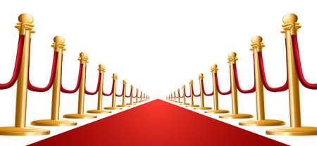 celebrities: Illustratie van een rood fluwelen koord en rode loper
