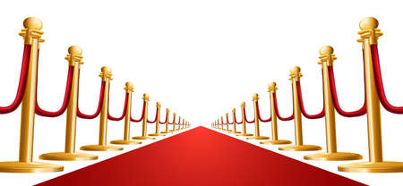 Illustration of a red velvet rope and red carpet Vector
