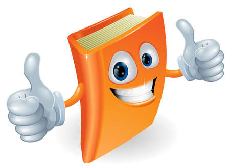 thumb up: A happy book cartoon character mascot illustration giving a double thumbs up