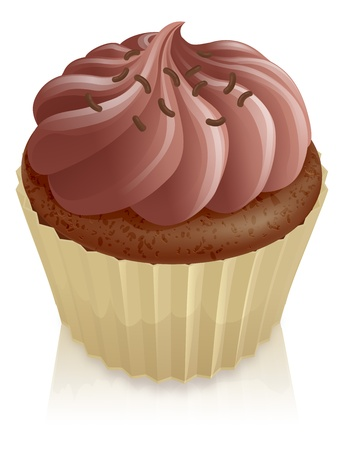 Chocolate fairy cake cupcake with chocolate sprinkles on top Vector