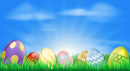 Bright Easter eggs background with pretty decorated Easter eggs in the grass Vector
