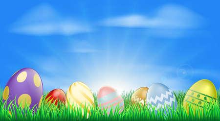 Helle Ostereier Hintergrund mit schönen verzierten Ostereier im Gras