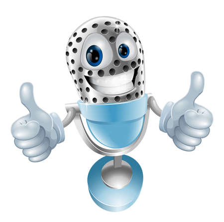 microphone retro: Microphone cartoon character giving double thumbs up  illustration Illustration