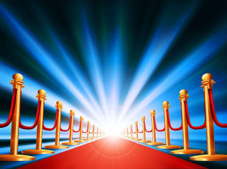 velvet rope barrier: A red carpet leading to somewhere exciting with bright light and abstract background Illustration