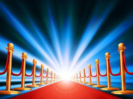 Ein roter Teppich führt zu spannenden irgendwo bei grellem Licht und abstrakten Hintergrund