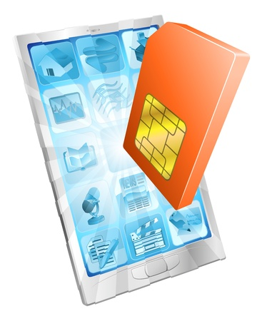 sim card: Phone SIM card icon coming out of screen concept Illustration