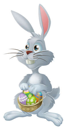 cartoon easter basket: The Easter bunny with a basket full of painted Easter eggs